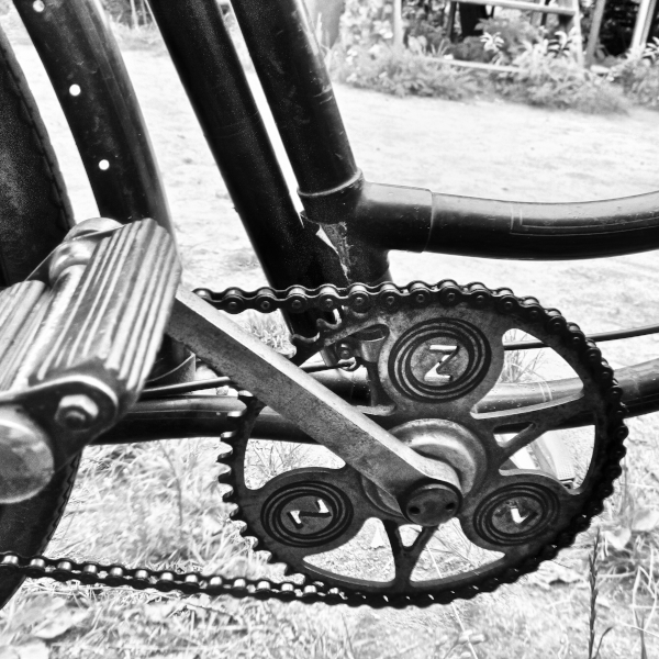 Zbrojovka - old bicycle detail - monochrome